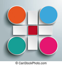 Infographic Colored Drops Cross Rectangles 4 Options PiAd
