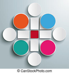 Infographic Colored Drops Cross Rectangles 4 Circles PiAd