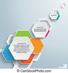 Infographic Colored Paper Hexagons PiAd - Infographic design...