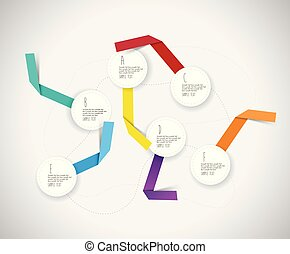 Infographic colorful template with circles and paper ribbons.