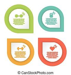 infographic, coloridos, modelo, condicão física