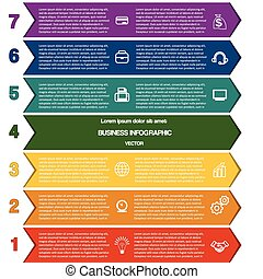 Infographic colour strips of arrows seven positions
