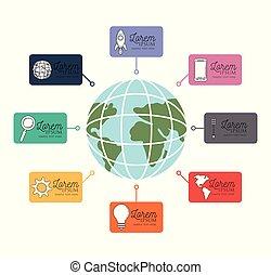 infographic, com, coloridos, cartões negócio, ao redor, de, globo, mapa