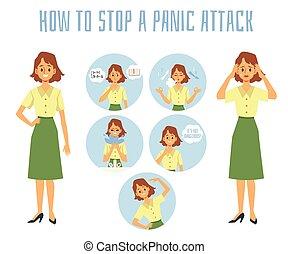 infographic, comment, arrêt, méthodes, panique, -, affiche, ensemble, attaque