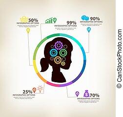 infographic, conceito, idéias, mulheres