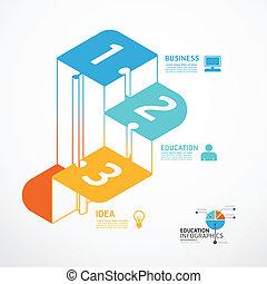 infographic, conceito, jigsaw, ilustração, passo, vetorial, modelo, bandeira
