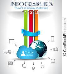 infographic, conceito, nuvem, fundo, computando