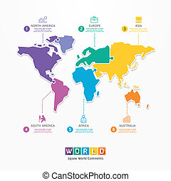 infographic, concept, banner., jigsaw, illustratie, vector, mal, wereld