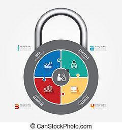 infographic, concept, banner., serrure, malade, puzzle, vecteur, gabarit
