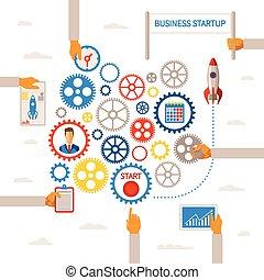 infographic, concept, business, début, vecteur, gabarit