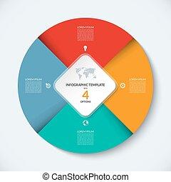infographic, concept, business, template., vecteur, 4, cercle, options