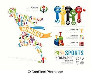 infographic, concept, illustratie, sporten, vector, ontwerp, mal