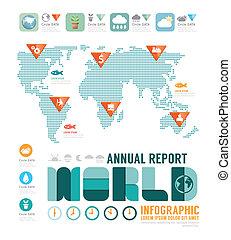 infographic, concept, jaarlijks, vector, ontwerp, mal, rapport, wereld