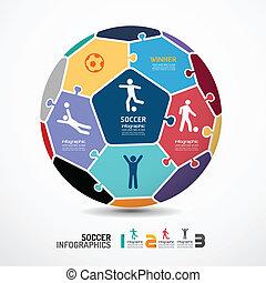 infographic, concept, jigsaw, illustratie, vector, mal, voetbal, spandoek