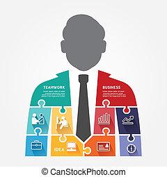 infographic, concept, jigsaw, illustratie, vector, mal, zakenman, spandoek