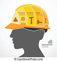 infographic, concept, jigsaw, vector, bouwsector, illustratie, mal, spandoek