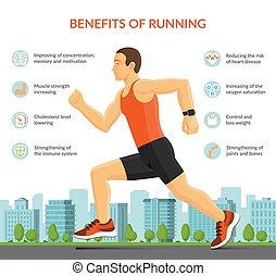 infographic, concept., jogging, illustration, courant, vecteur, fitness, outdoors., sport, homme