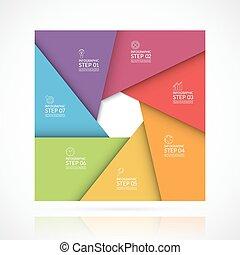 infographic, concept, mal, zakelijk, onderdelen, materiaal, style., vector, plein, 7, stappen, opties