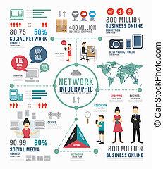 infographic, concept, netwerk, illu, vector, ontwerp, mal, sociaal
