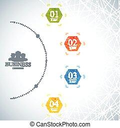 infographic, concept, réseau, business, options., moderne, illustration, vecteur, 4, gabarit