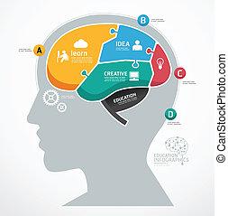 infographic, concept, raadsel, jigsaw, illustratie, abstract, hersenen, vector, menselijk, template.