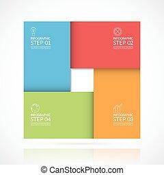 infographic, concept, zakelijk, onderdelen, materiaal, style., vector, plein, 4, mal, stappen, opties