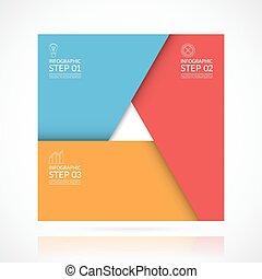 infographic, concept, zaken 3, vector, plein, stappen, template.