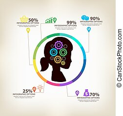 infographic, concepto, ideas, mujeres