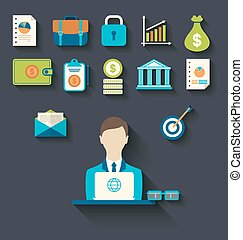 Infographic concepts of businessman with business and finance flat icons