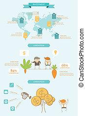 infographic, concetto, investimento, affari