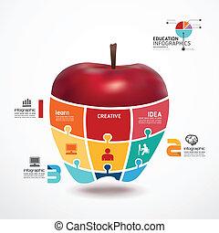 infographic, concetto, mela, jigsaw, illustrazione, vettore, sagoma, bandiera