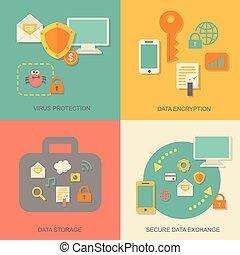 infographic, concetto, rete, affari, protezione, tecnologia, vettore, disegno, nuvola, sicurezza, dati, elementi