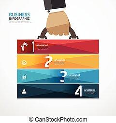 infographic, concetto, successo, illustrazione affari, mano, passo, vettore, sagoma, valigia, uomo affari, presa, bandiera