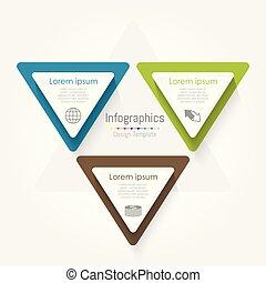 infographic, concetto, triangolo, processes., affari, parti, opzioni, template., 3, vettore, passi, o