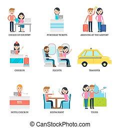 infographic, concetto, vacanza, famiglia