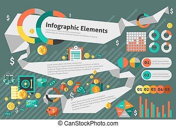 infographic, conjunto, finanzas