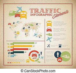 infographic, conjunto, grande, vector, tráfico, elementos