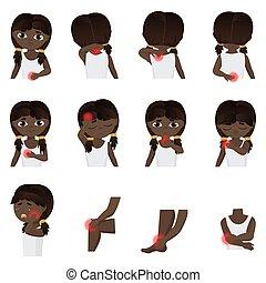 infographic, corps, peu, illustration., douleur, maladies, plat, douleur, set., enfant, différent, vecteur, sent, parties, noir, africaine, brésilien, américain, girl, ou, gosse