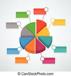 infographic, couleur, graphique circulaire, vecteur, gabarit, présentation, template.