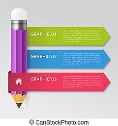 infographic, crayon, concept, illustration, vecteur, conception, gabarit
