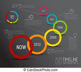 Infographic dark timeline report template with circles