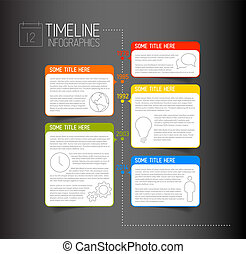 Infographic dark timeline report template with descriptive bubbles