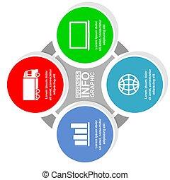 infographic, darstellung, geschaeftswelt, schablone, vektor, 4, diagramm, optionen