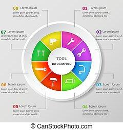 infographic, desenho, modelo, com, ferramenta, ícones
