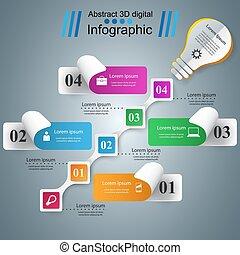 Infographic design. Bulb, Light icon. - Infographic design...
