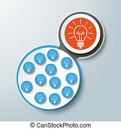 Infographic Design Connected Bulbs Blue Orange PiAd