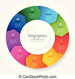 Infographic design elements for your business data with 9 options, parts, steps, timelines or processes, Arrow wheel circle style. Vector Illustration.