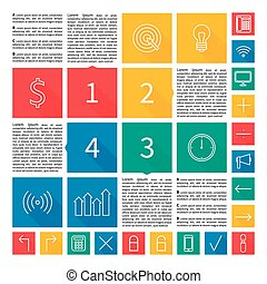 Infographic design. Flat user interface. Vector abstract squares colorful background illustration. Template with place for your content.
