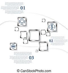 infographic, design, fyrkanteer, metallisk