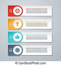 Infographic design number options banner or template. 4 steps. Vector illustration. Can be used for workflow layout, brochure, diagram, chart, number and step up options, web design